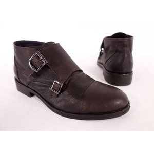 BRAWN'S Mens 42 9 Brown Double Buckle Monk Boots